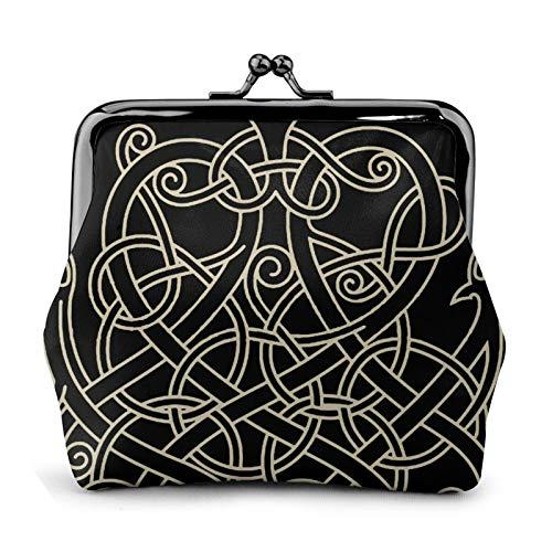 antcreptson Ancient Decorative Dragon Celtic Style Coin Purse Vintage Pouch Kiss-Lock Change Purse Wallet Gifts for Women