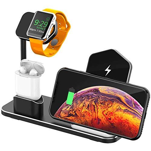 LAHappy Cargador Inalámbrico 3 en 1 Qi Estación de Carga Rápida, Diseño Antideslizante, para Apple Watch Airpods iPhone 12/12 Pro/11/XR/X/8/8P