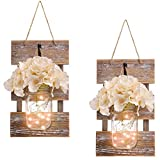 Rustic Brown Mason Jar Sconces for Wall Decor, Decorative Chic Hanging House Decor Mason Jars with LED Strip Lights, 6-Hour Timer, Silk Hydrangea, Iron Hooks for Home & Kitchen Decorations