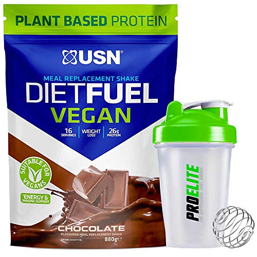 USN Diet Fuel Vegan Meal Replacement Protein Shake 880g + Shaker