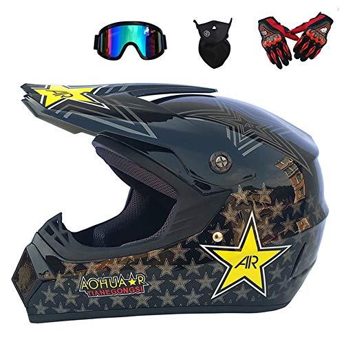 Casco de Motocross, Unisex Casco Off-Road Set Profesional Adultos Integral Casco Motocicleta Kit con Gafas, Guantes, Mascarilla,Tamaño (S, M, L, XL)