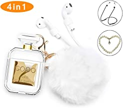 Airpods Case,Rcligent Perfume Bottle Case Shockproof with Cute Fur Ball Keychain Pearl for Apple Airpods 2&1