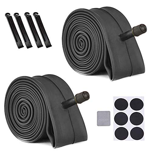 """CEISPOB 2 Pack Bike Inner Tube with 4 Tire Levers 22/24/26 inch, Bicycle Tube Replacement for 32mm Schrader Valve Road MTB Bike Inner Tubes Durable Butyl Rubber Bike Tires (24"""" x 1.75"""" - 2.125"""")"""