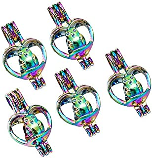5X Rainbow Color Owl Heart Pearl Cage Locket Pendant Essential Oil Diffuser Gift