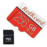 Redkcard Carte Micro SD Carte mémoire Mini Carte SD SDHC SDXC Carte TF pour Smartphone Tablette (256Go, Rouge)