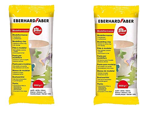 Eberhard Faber 570101 - Modelliermasse EFAPlast classic, 1 kg, weiß (2er Pack)