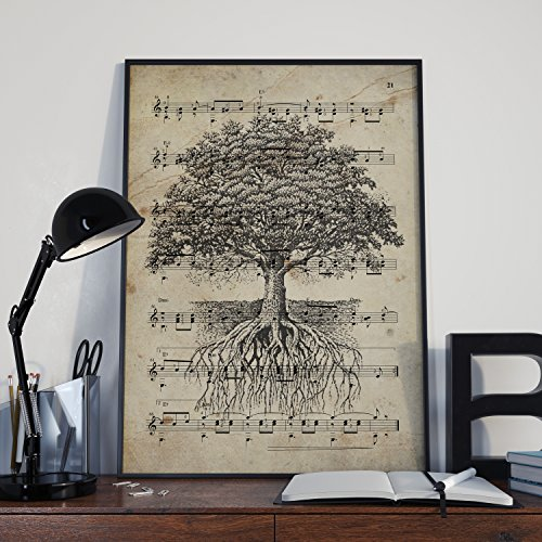Nacnic Lámina Poster Arbol de la Vida Vintage de partituras. Ilustracion sobre Antiguas partituras Amantes de la música. Tamaño A3