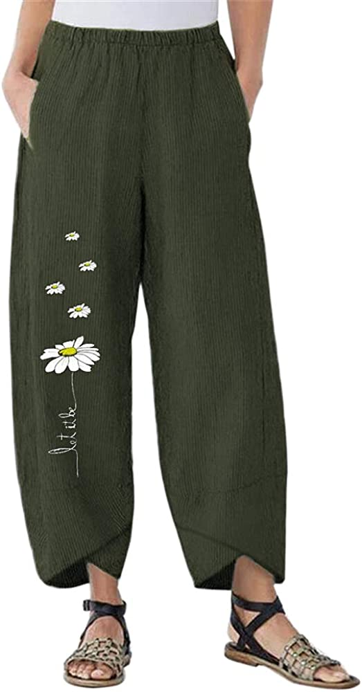 Puimentiua Womens Wide Leg Ranking TOP17 Flower Pants Loose Online limited product Trous Print Casual