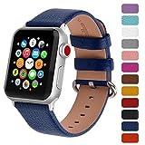 Fullmosa Klassische Litichi Leder Watch Armband Kompatibel für Apple Watch Series 5/4/3/2/1, 12 Farben iWatch Armband geeignet für Männer und Frauen mit Edelstahlschliesse 38mm, Dunkelblau
