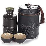 AMYZ Juego de Sake de 4 Piezas,Juego de Copas de Vino con diseño de Modelado de bambú con Olla de Calentamiento,Tazas de cerámica esmaltada en Negro,para frío/Caliente/Shochu/té