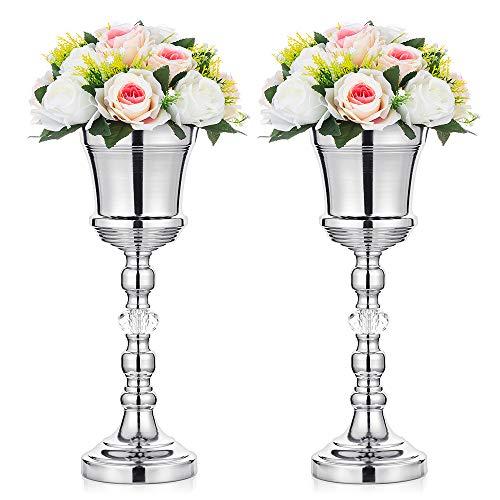 Nuptio 2 Stück Tabletop Metall Hochzeit Blume Trompete Vase mit Kristall, Tischdekoration Herzstück für Jubiläumsfeier Geburtstag Event Gang Dekoration, Silber Vase Weihnachten Deko