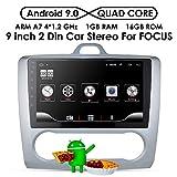 Android 9.0 en el Tablero 9'Pantalla táctil Radio del Coche Bluetooth Coche GPS Estéreo Coche Receptor de FM Radio para Ford Focus exi en 2004-2011 Soporte Control del Volante con Enlace de Espejo