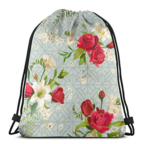 Lsjuee Vintage Rose and Lily Flowers SpringDrawstring Backpack Sports Fitness Backpack Waterproof Men's and Women's Waist Bag Travel Yoga Beach School