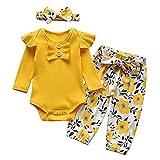 Ropa para bebés recién Nacidos, 3 Piezas de Trajes para bebés recién Nacidos, Mameluco de Manga Larga con Volantes y Pantalones Florales con Diadema, Conjunto de Ropa de algodón Suave para bebés de 0