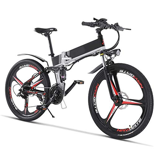 Jakroo Adultos Todoterreno Bicicleta Eléctrica, con Extraíble 48V 12.8Ah Batería de Iones Litio 21 Velocidad Variable Freno de Disco Hidráulico Doble