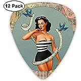 Pin-Up Girl Picks Guitar Pack de 12-3 tamaños diferentes que incluyen Thin, Medium y Heavy...