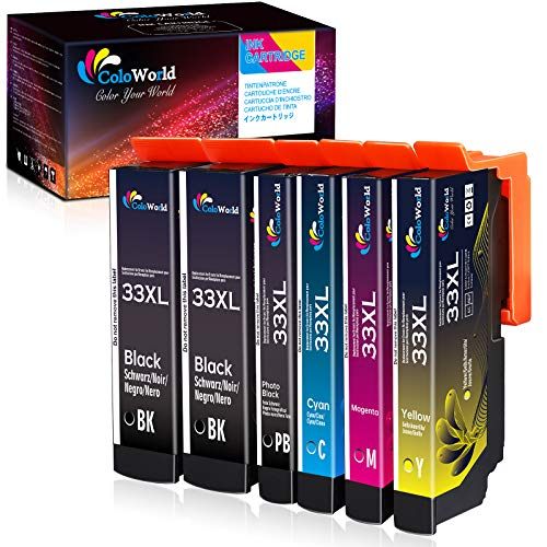 ColoWorld 33XL Cartuchos de tinta de Repuesto para Epson 33 XL Multipack Compatible con Epson Expression Premium XP-530 XP-630 XP-830 XP-635 XP-540 XP-640 XP-645 Impresoras 6 Paquete(2BK 1PB 1C 1M 1Y)