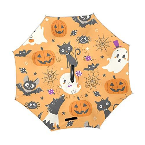 Happy Halloween Kürbis Wolf umgekehrter Regenschirm, freistehend, doppellagig, UV-Doppellagig, Winddicht, mit C-förmigem Griff, innen nach außen, für Herren und Damen