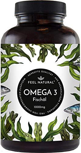 Omega 3 Fischöl Kapseln - 365 Kapseln im Jahresvorrat - Premium mit 1000mg Fischöl je Kapsel und...