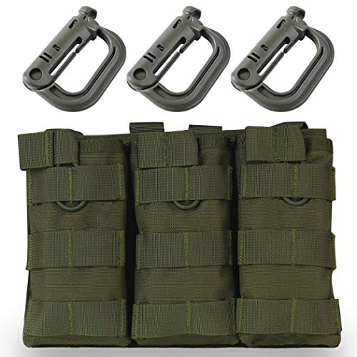 Aoutacc Tactical Magazine Pouch Holder MOLLE Triple Open-Top Mag Pouch with D-Ring Grimlock Locking for M4 M16 AR-15 Magazines (OD)