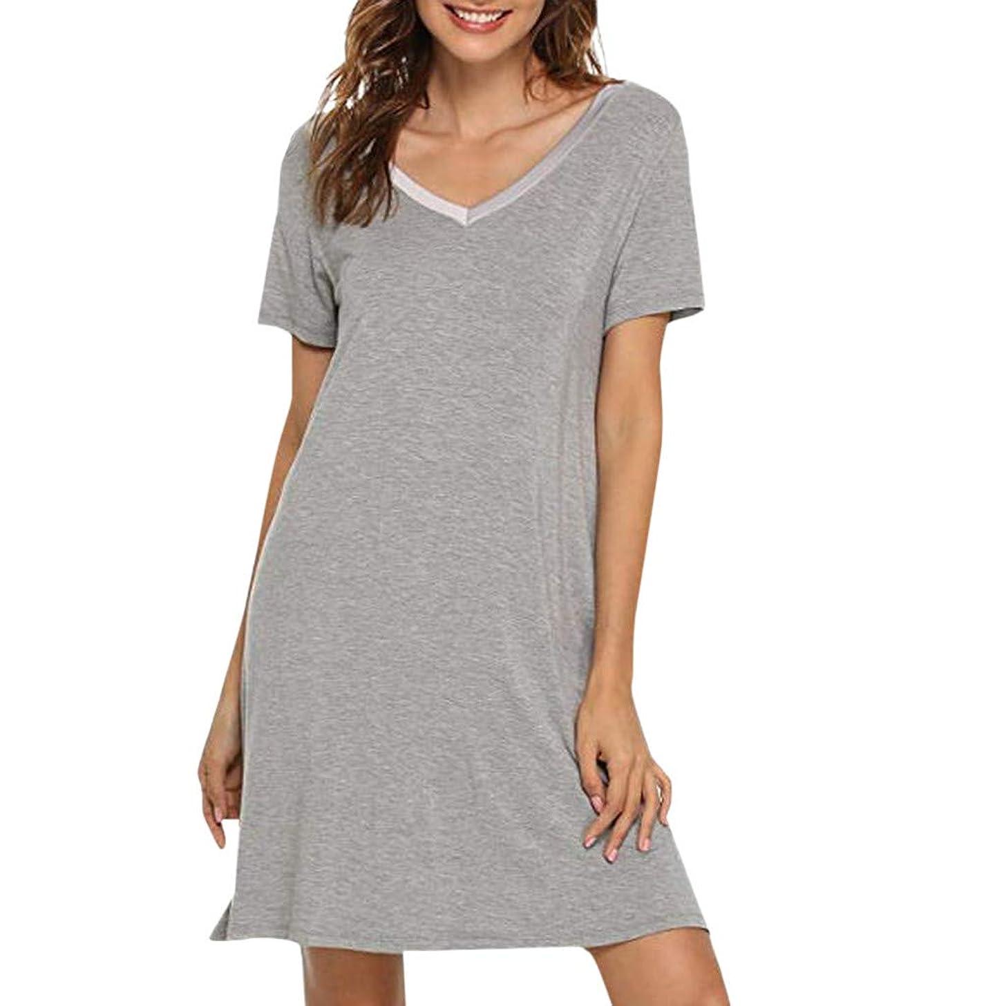 Women's Nightgown Casual Sleep Shirt V Neck Short Sleeve Loose Pajama Dress Sleepwear