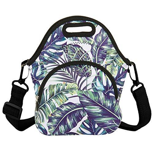 Green Leaf Neoprene Lunch Bag Insulated Tote Box Handbag for Women Boys Girls School Office