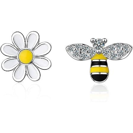 Silver Lovely Asymmetry Bee /& Flower Stud Earrings for Women Fashion Jewelry Bijoux