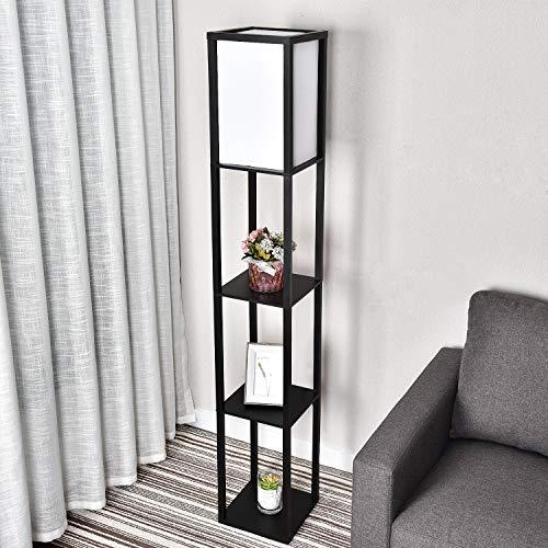 Stehlampe mit Holzregal Innenbeleuchtung 1,6m Holz Stehleuchte mit Regalen für Schlafzimmer und Wohnzimmer