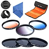 67mm filter set K&F Concept 67mm Professional Lens Filters Neutral Density Filters (ND2 ND4 ND8) Graduated Color Filter (Blue Orange Gray) For Nikon Canon Cameras Lens hood Cleaning Cloth filter Pouch