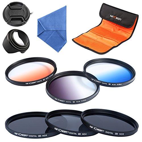 K & F Concept Set mit 6 Filtern (ND2 Neutral Grey ND4 ND8 + Graduated Colour Orange/Blau/Grau) + Reinigungstuch + Sonnenblende + Objektivdeckel + Filtertasche