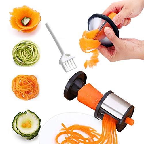 Fayomir Spiralschneider, 2 Stück Spiralschneider Hand mit Bürste, Gemüsehobel Edelstahl für Fettuccine Schnitt und Bänder schneiden