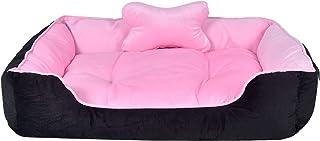 Slatters Be Royal Store Rectangular Shape Reversable Dual Pink Black Color Ultra Soft Ethnic Designer Velvet Bed for Dog/C...