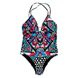 Superdry AVA Cross Back Vee Swimsuit Bañador, Multicolor Crazy Tropical J2g, 38 para Mujer