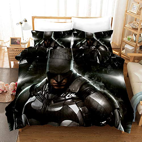 Batman Juego de Funda de Edredón 200 x 200 cm Juego de Ropa de Cama 3 Piezas con Cierre de...