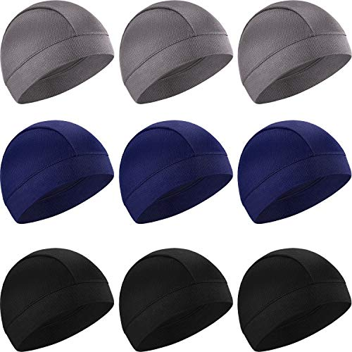 SATINIOR 9 Pieces Cooling Skull Caps Helmet Liner Beanie Cap Sweat Wicking Cycling Hat for Men and Women, 9 Colors (Light Grey, Blue, Black)