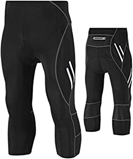 LUKEEXIN Compression Leggings Pants for Men Tights rRunning, 3/4 Cool Dry Sports Pants Black