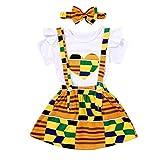 Infant Toddler Baby Girls African Kente Skirt Set Heart Print Shirt Top + Kente Girls Dress + Bow Headband Outfit Set 3Pcs (Short#White 1, 12-18 Months)