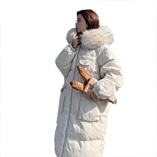Fashion Ladies Jacket, Large Fur Collar Hooded Loose Does Not Pick People Thick Padded Coat Jacket,White,XL