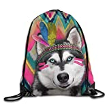 Etryrt Mochilas/Bolsas de Gimnasia,Bolsas de Cuerdas, Indian Husky Drawstring Backpack Rucksack Shoulder Bags Training Gym Sack For Man and Women