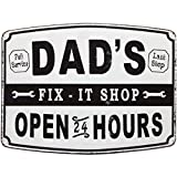 Lily's Home Dad's Fix-It Shop Sign, Hanging Metal Sign, Garage Decor, Novelty Gifts for Dad