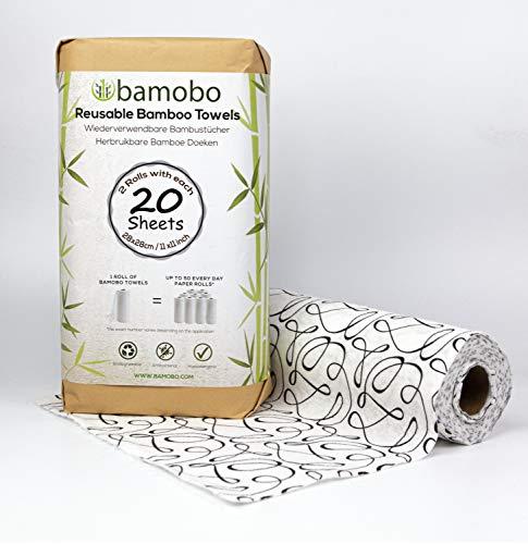 [2x] 100% Bambus KÜCHENROLLE Waschbar | Ersetzt bis zu 50 Haushaltrollen Wiederverwendbar | Waschbare Küchentücher | Papiertücher | Bambusrolle Nachhaltig | Umweltfreundliche Allzwecktücher (Schwarz)