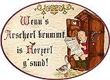 Kaltner Präsente Geschenkidee - Holz Geschenkartikel Deko Türschild im Antik Design Dekoartikel Humor WENN´S ARSCHERL BRUMMT is HERZERL G´SUND (Ø 18 cm)