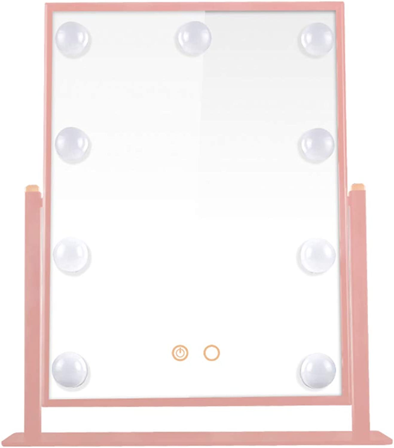 YANZHEN Makeup Mirror LED Bulb Hollywood Touch Screen Anti-Rust Desktop Dressing Ultra-Clear European Style Iron, 3 color 3 Size (color   Pink, Size   36x47cm)