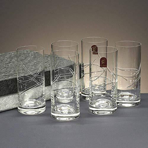 la galaica | Set o Juegos 6 Vasos Altos de Cristal para Whisky o Agua - Tallados a Mano - Colección 1127 | Resistentes y...