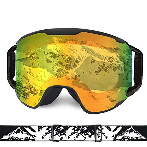 WLZP Gafas de esquí,Gafas Esqui Snowboard UV400 Protección para Hombres, Mujeres y jóvenes Esquiar OTG,Snowboard Deportes de Invierno Nieve Lentes Anti-Niebla