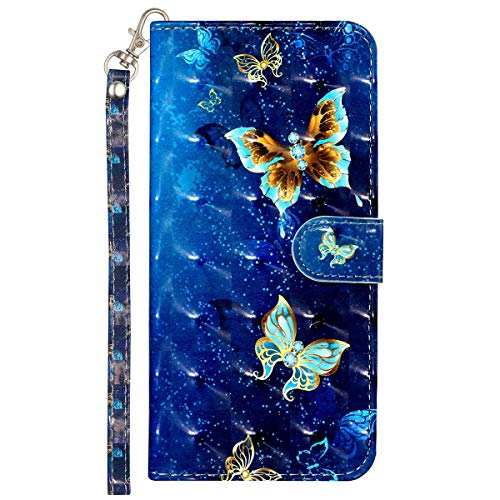 Blllue Funda tipo cartera compatible con LG K51, 3D pintado piel PU funda protectora Flip Case para LG Reflect - azul oro mariposa