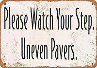 足の不均等な舗装に注意してください 金属板ブリキ看板警告サイン注意サイン表示パネル情報サイン金属安全サイン