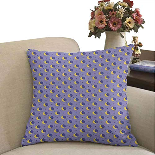 prunushome Moon Throw Pillowcase Childish Kids Pattern with Moon Stars Dots Cartoon Style Night Sky for Toddler Zippered Pillow Case Lavender Yellow Super Soft Fashion Best Gifts 16 x 16 inches