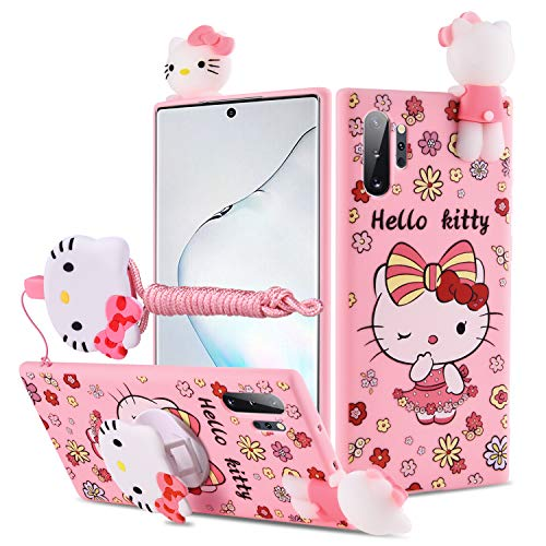 HikerClub Galaxy Note10 Case Hello Kitty 3D Cartoon Case with Pop Out Phone Stand Grip Holder and Detachable Long Lanyard Neck Strap Band Soft Lovely Case for Children Kids Girls (Hello Kitty, Note10)