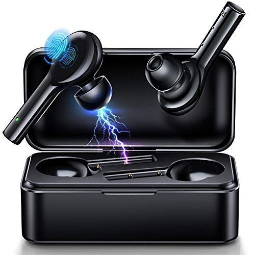 JOMARTO Bluetooth Kopfhörer Kabellos in Ear Sport Headset-Stereo Noise Cancelling Ohrhörer Bluetooth Kopfhörer V5.0 Mikrofon IPX5 Wasserdicht mit 380mAh Ladebox Wireless Earbuds für IOS Android